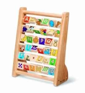 Classic Wooden Educational Toy with 36 Letter and Number Tiles