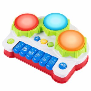 Drum Musical Toy, Keyboard Piano Drum Set with Music and Lights