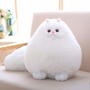 Kids Stuffed White Plush Cat
